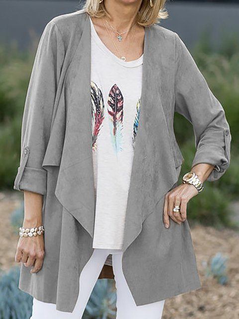 Plus Size Casual Draped Lapel Solid Jackets