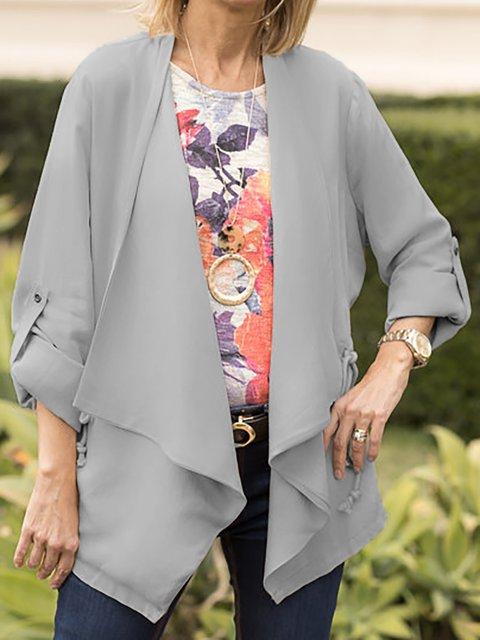Plus Size Women Casual Lapel Draped Solid Jackets