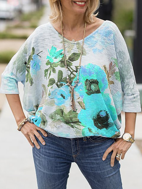 Plus Size Round Neck Floral Sweet Blouse