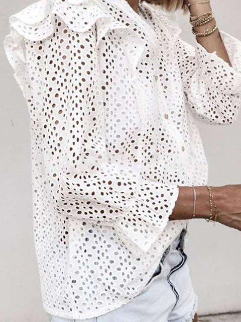White Long Sleeve V Neck Plain Shirts & Tops