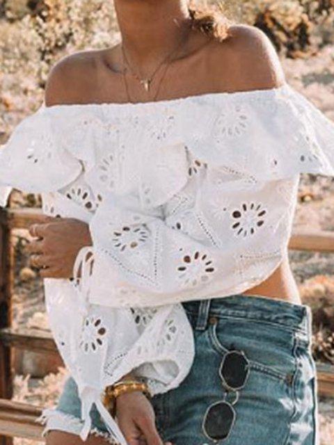 White Long Sleeve Holiday Plain Shirts & Blouses