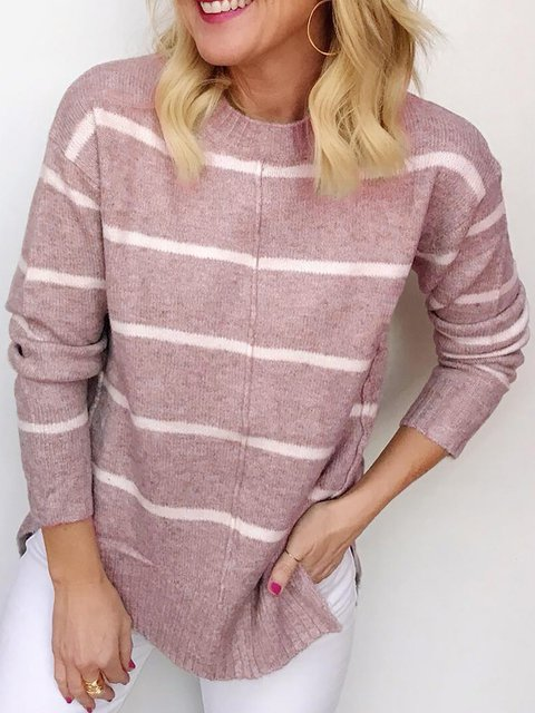 Long Sleeve Cotton Round Neck Knitwear