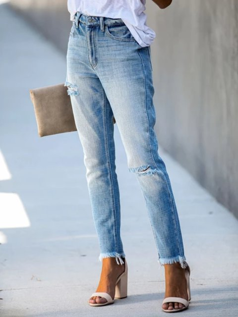 Blue Denim Casual Ripped Pants