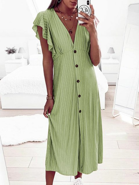 ccba86871 Plus Size Maxi Casual Stripes Shift Frill Sleeve Skirts