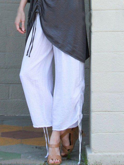 Plain Casual Cotton Pants