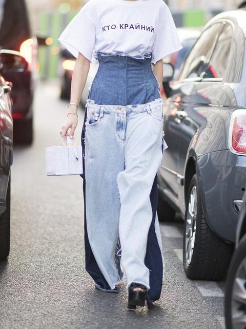 Blue Plain Paneled Basic Pants