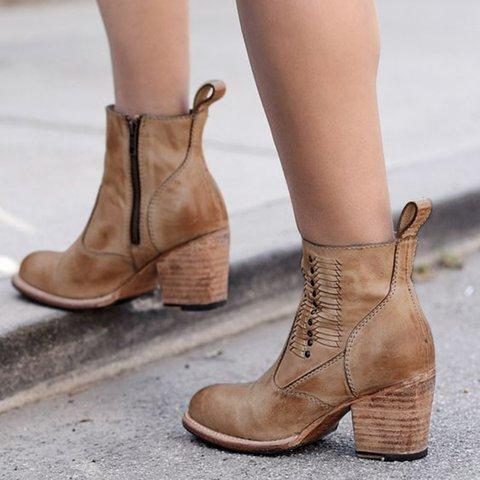 Khaki Zipper Fall Low Heel Leatherette Daily Boots