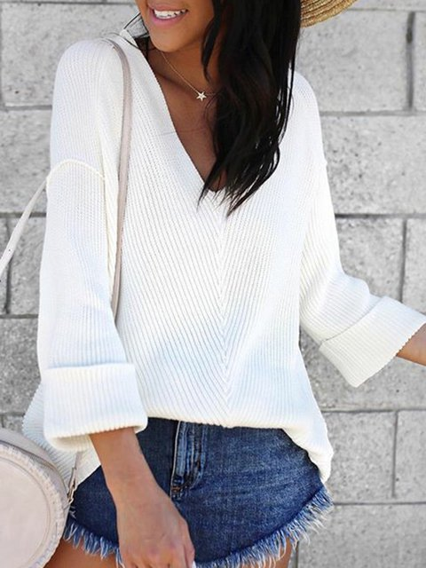 Plus Size Solid Sweater V Neck Bell Sleeve Knitted Tops