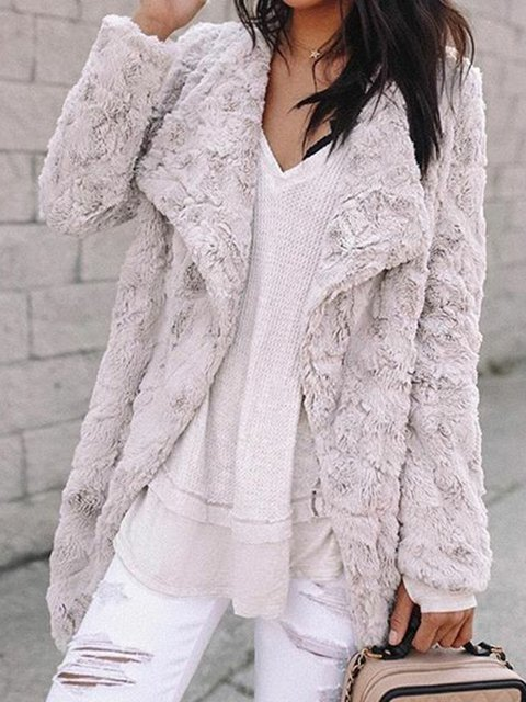 Plus Size Faux Fur Coat Solid Shawl Collar Outerwear