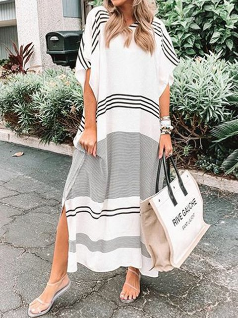 Plus Size Maxi Dresses Summer Striped  V Neck Boho Dresses