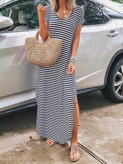 Plus Size Maxi Dresses Summer Striped V Neck Printed Dresses