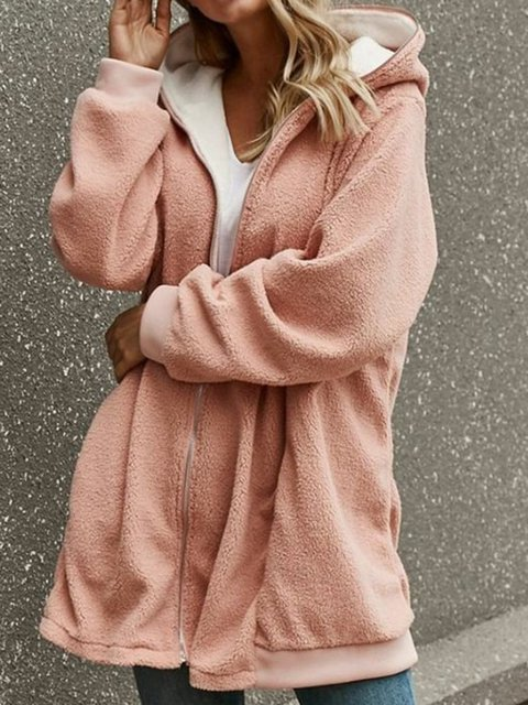 Plus Size Hoodie Cardigan Solid Pockets Coat