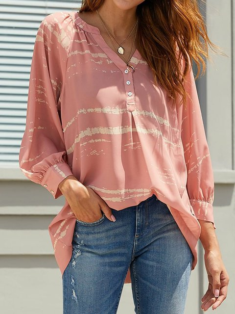 Plus Size Blouses Striped Printed Long Sleeve Tops