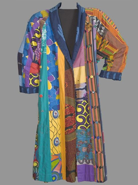 Multicolor Plus Size Long Sleeve Statement Outerwear
