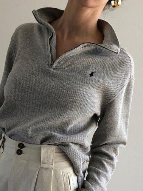 Grey Long Sleeve Casual Stand Collar Sweatshirts