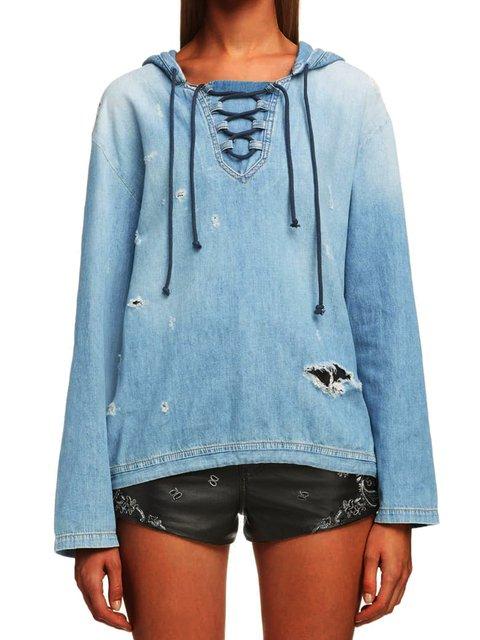 Light Blue Hoodie Outdoor Lace-Up Sweatshirts & Hoodies