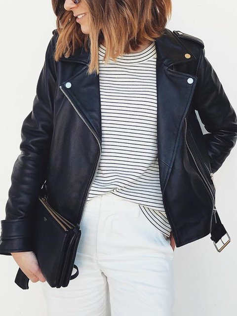 Black Plain Casual Long Sleeve Jackets