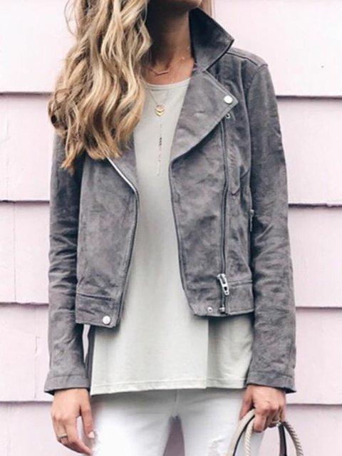 Gray Long Sleeve Plain Faux Leather Zipper Jackets