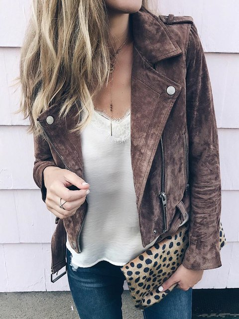 Faux Leather Plain Long Sleeve Jackets