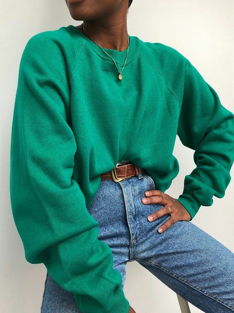 Green Casual Cotton-Blend Solid Shift Sweatshirts