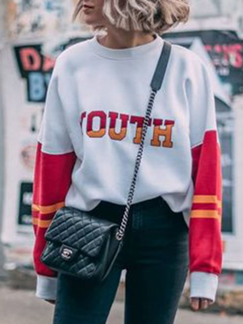 White-Red Patch Casual Crew Neck Sweatshirts