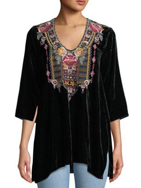 Black Shift Polyester Fibre 3/4 Sleeve Shirts & Tops