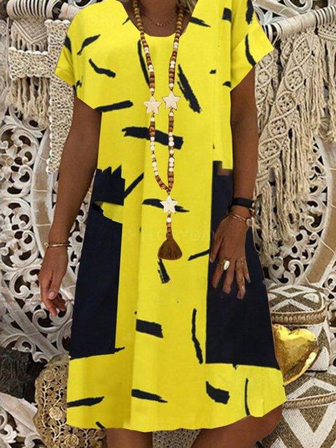 Crew Neck Women Dresses Holiday Casual Dresses