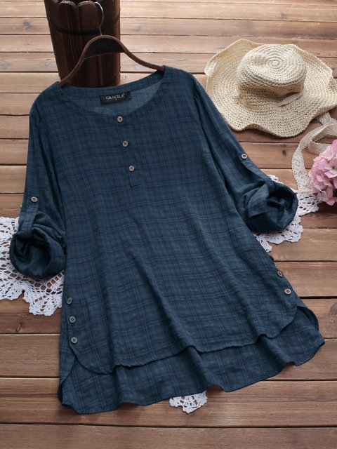 Casual Cotton Buttoned Shirts & Tops