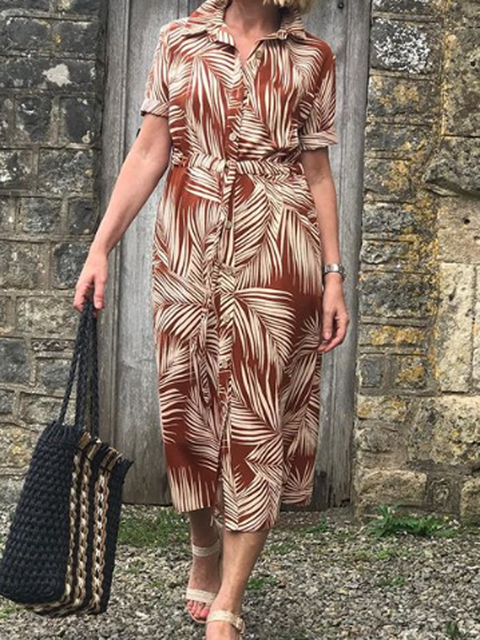 Shirt Collar Brown Women Dresses Daily Printed Dresses