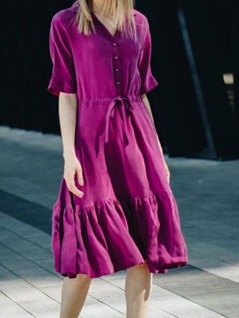 V Neck Purple Women Dresses Shift Daily Boho Dresses