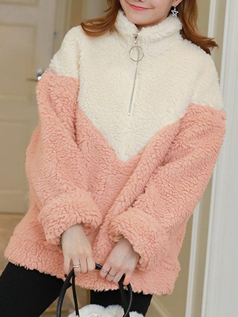 Pink Simple Long Sleeve Shirts & Tops