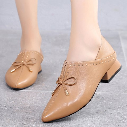 Date Bowknot Pointed Toe Genuine Leather Chunky Heel Slip On Pumps