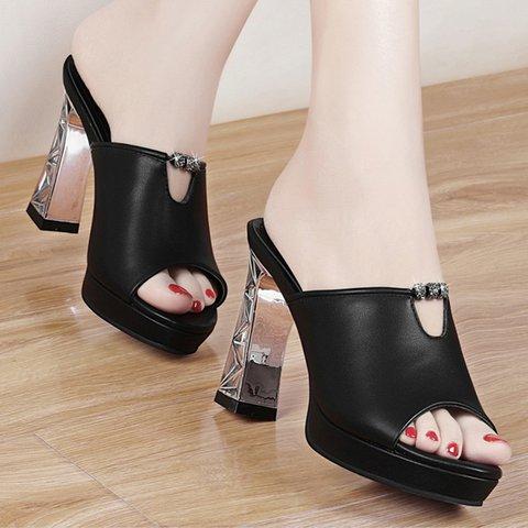 Stylish Peep Toe Genuine Leather Special Heel Platform Pumps