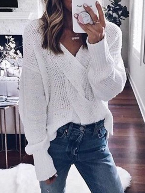 V Neck Knitted Casual Long Sleeve Sweaters