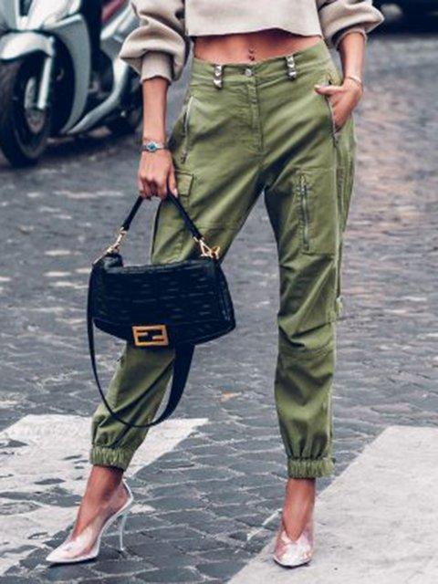 Green Outdoor Cotton-Blend Pants