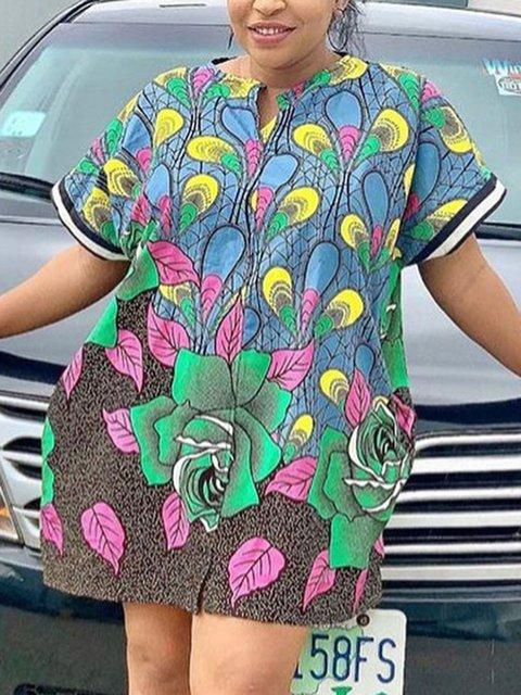 Crew Neck Floral Short Sleeve Shift Dresses