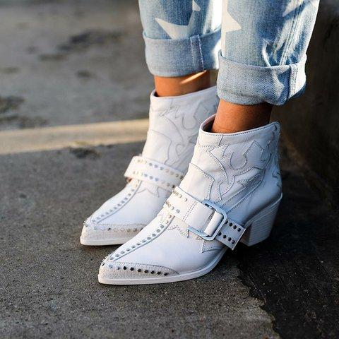 Faux Leather Rivet All Season Boots