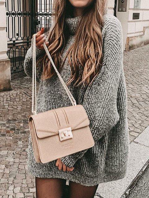 Vintage Turtleneck Long Sleeve Solid Sweaters