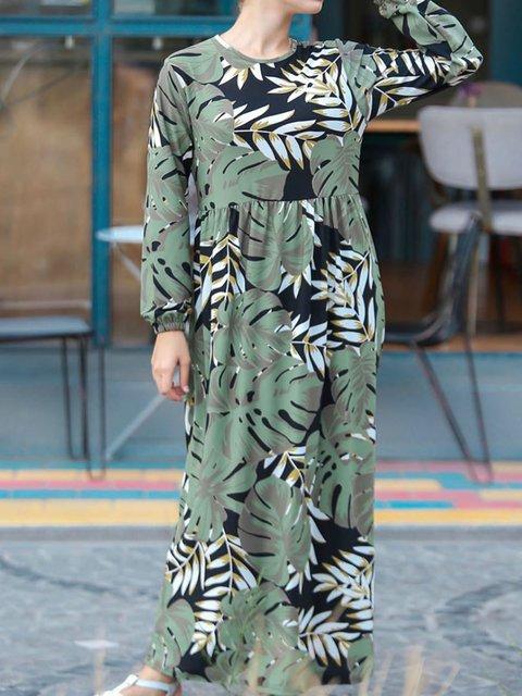 Plus Size Floral Leaf Maxi Crew Neck  Shift Daytime Dresses