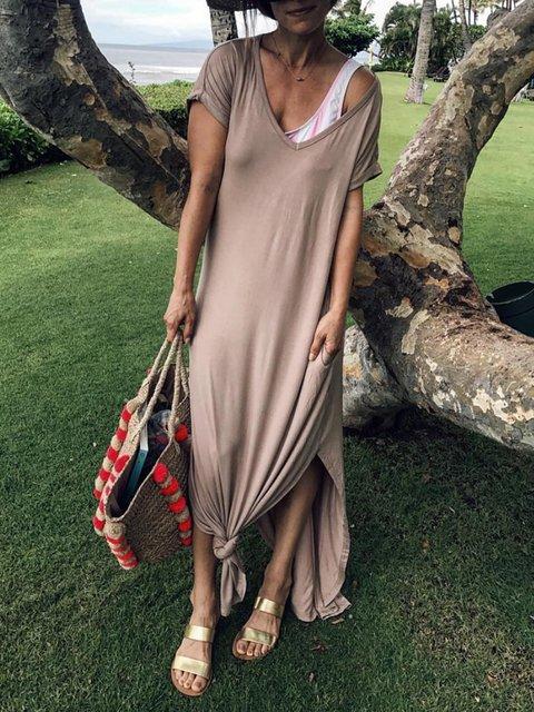 Plus Size Maxi V Neck  Shift Daytime Casual Slit Dresses