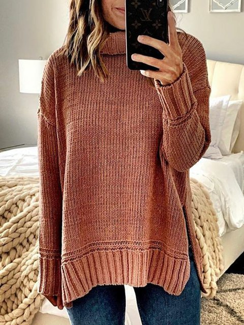 Plain Long Sleeve Casual Crew Neck Sweaters