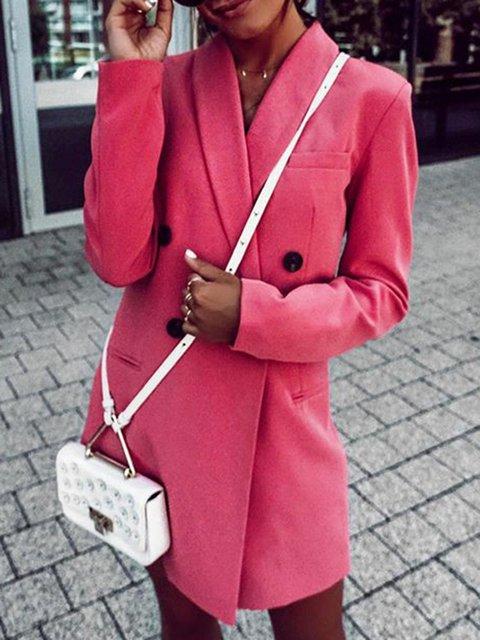 Daytime Shawl Collar Plain Long Sleeve Outerwear