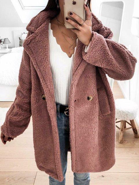 Plain Shawl Collar A-line Long Sleeve Outerwear
