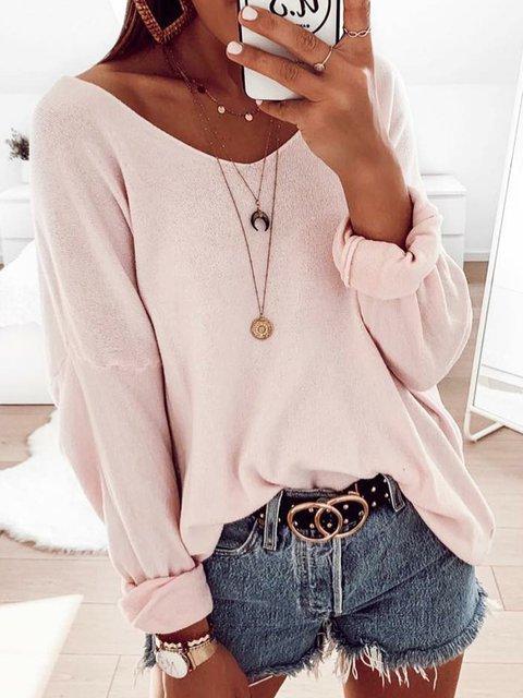 Daytime Plain Plus Size Maxi  Long Sleeve Sweaters