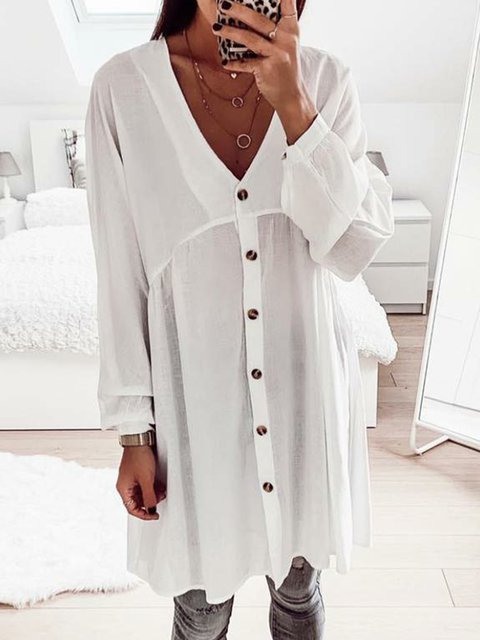 Plain Long Sleeve V neck Shift BohoShirts