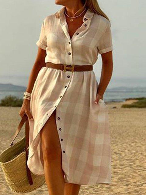 Shirt Collar Short Sleeve Shift Daytime Casual Dresses
