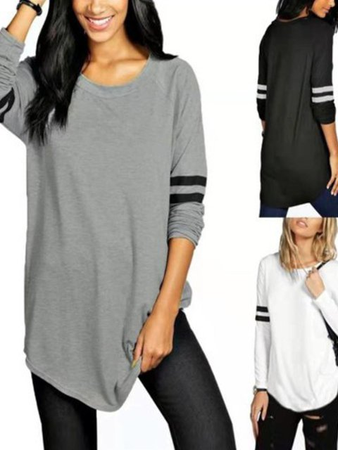 Long Sleeve Striped Basic Shirts & Tops