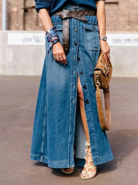 Blue Denim Casual Skirts