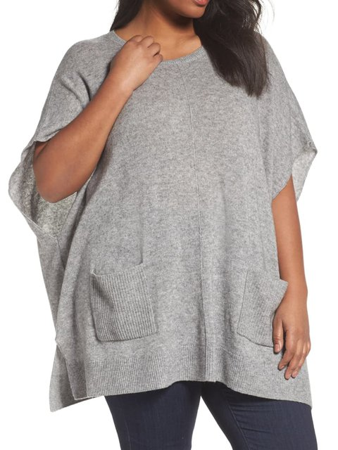 Cotton-Blend Crew Neck Plain Half Sleeve Sweaters
