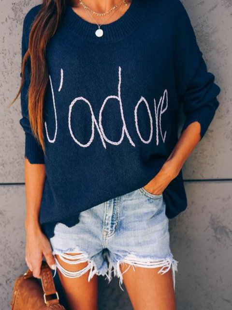 Navy Blue Long Sleeve Printed/dyed Knitted Casual Shirts & Tops